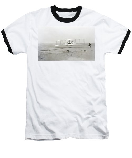 First Flight Captured On Glass Negative - 1903 Baseball T-Shirt by Daniel Hagerman