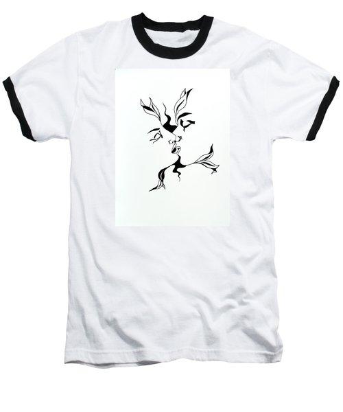 First Kiss Baseball T-Shirt by Yelena Tylkina