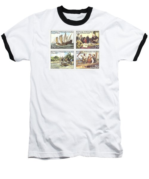 First Voyage Of Christopher Columbus Commemorative Stamp Block Baseball T-Shirt