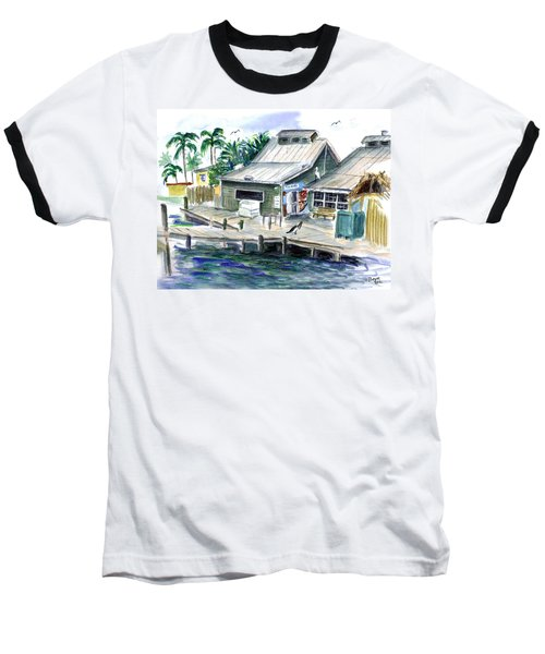 Fish House Baseball T-Shirt by Clara Sue Beym