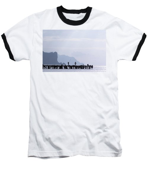 Fisherman At The Pier Baseball T-Shirt