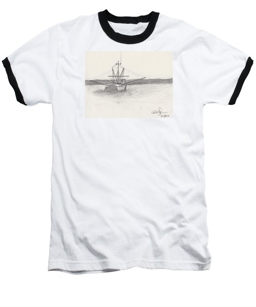 Baseball T-Shirt featuring the drawing Fishing Boat by David Jackson