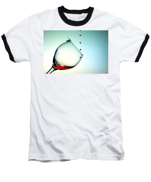Fishing On A Glass Cup With Red Wine Droplets Little People On Food Baseball T-Shirt by Paul Ge