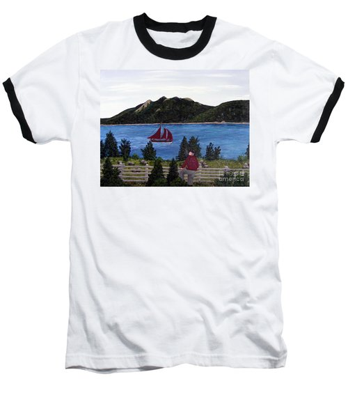 Baseball T-Shirt featuring the painting Fishing Schooner by Barbara Griffin