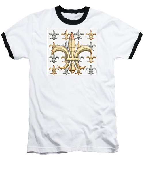 Fleur De Lys Silver And Gold Baseball T-Shirt by Barbara Chichester
