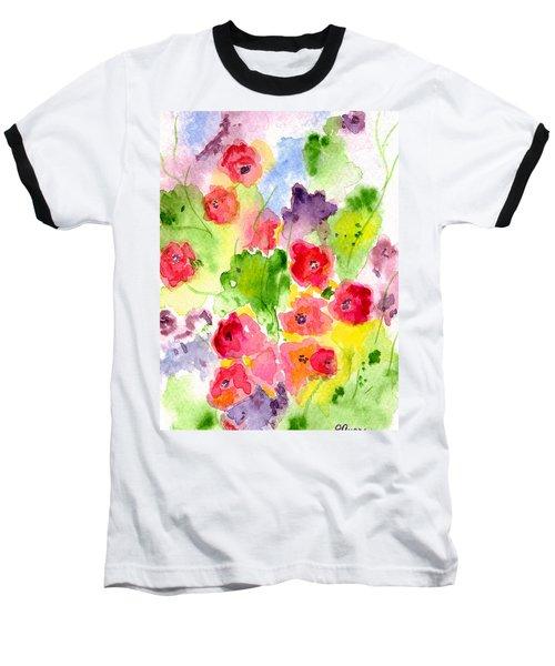 Floral Fantasy Baseball T-Shirt by Paula Ayers