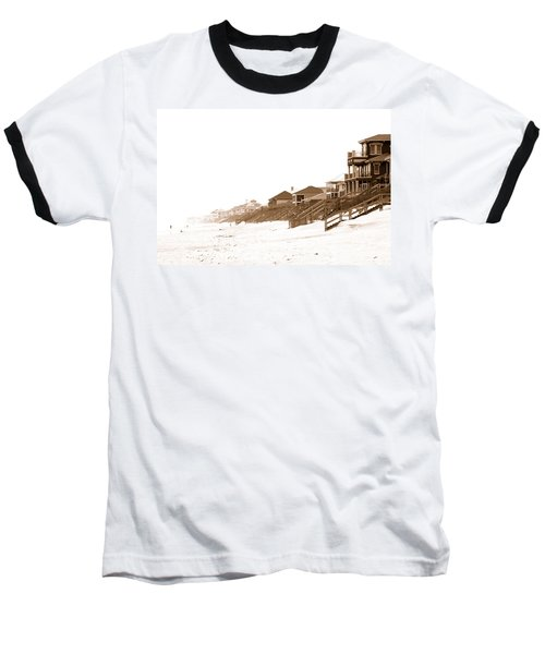Florida Beach Sepia Print Baseball T-Shirt