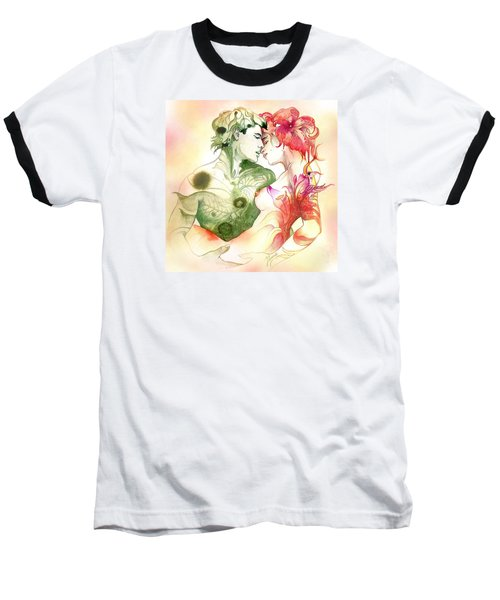 Baseball T-Shirt featuring the painting Flower And Leaf by Anna Ewa Miarczynska