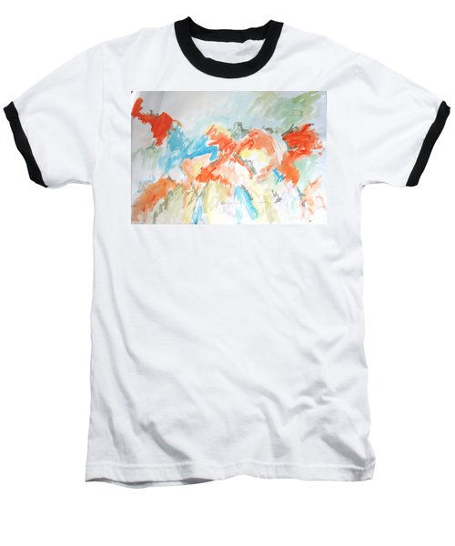 Flower Bursts Baseball T-Shirt by Esther Newman-Cohen