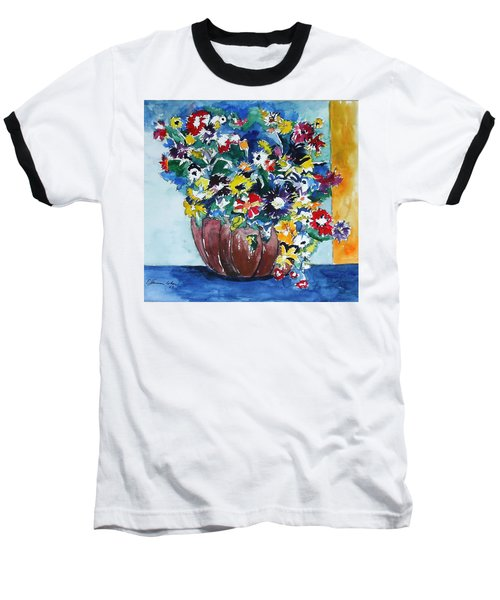 Baseball T-Shirt featuring the painting Flower Jubilee by Esther Newman-Cohen