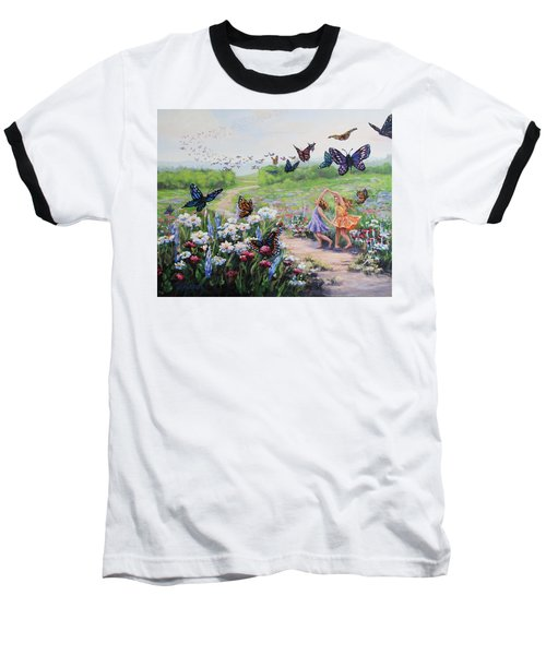 Baseball T-Shirt featuring the painting Flutterby Dreams by Karen Ilari