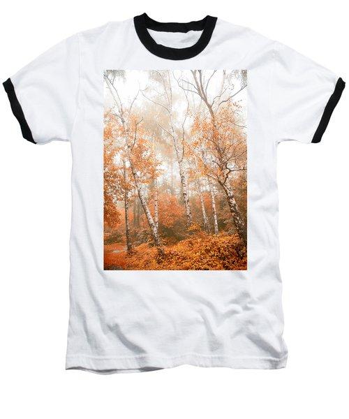 Foggy Autumn Aspens Baseball T-Shirt