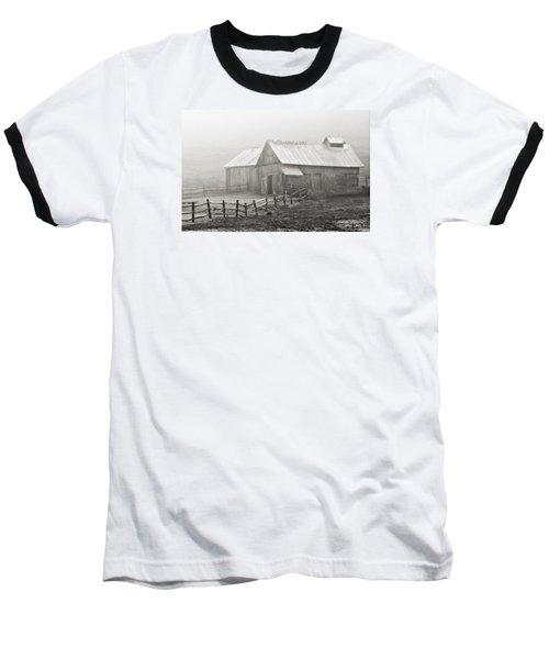 Foggy Barn Baseball T-Shirt by Joan Davis