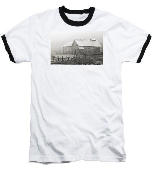 Foggy Barn Baseball T-Shirt