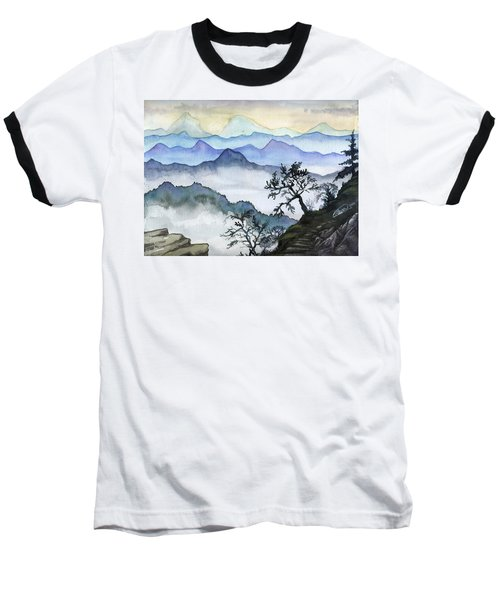 Foggy Mountaines Sunset View  Baseball T-Shirt