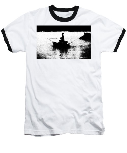 Foggy River Dawn Baseball T-Shirt