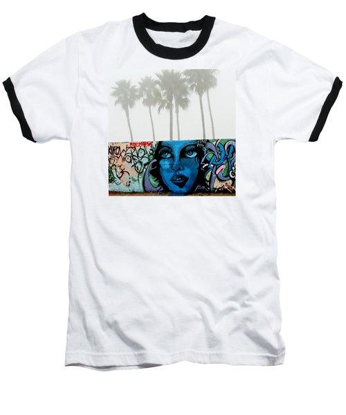 Foggy Venice Beach Baseball T-Shirt by Art Block Collections