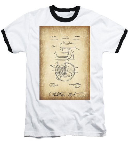 Food Mixer Patent Kitchen Art Baseball T-Shirt by Clare Bevan