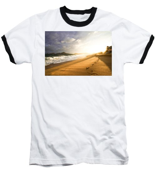 Footsteps In The Sand Baseball T-Shirt by Eti Reid