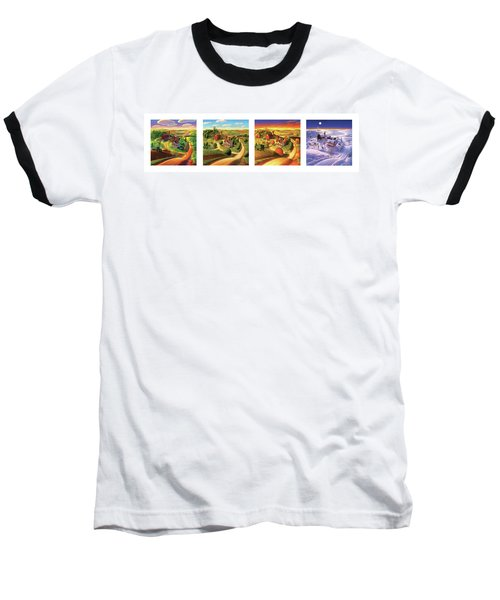 Baseball T-Shirt featuring the painting Four Seasons On The Farm by Robin Moline