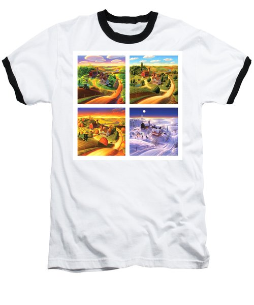Four Seasons On The Farm Squared Baseball T-Shirt by Robin Moline