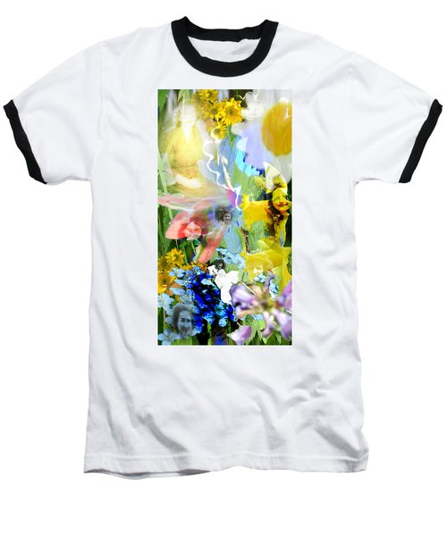 Baseball T-Shirt featuring the digital art Framed In Flowers by Cathy Anderson