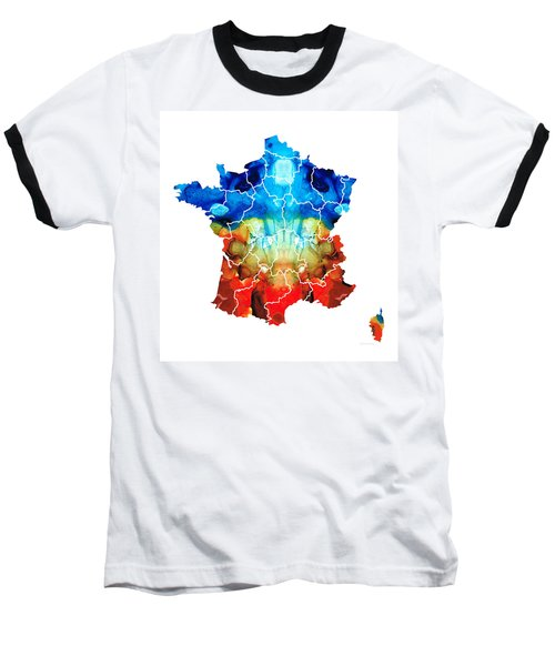 France - European Map By Sharon Cummings Baseball T-Shirt by Sharon Cummings