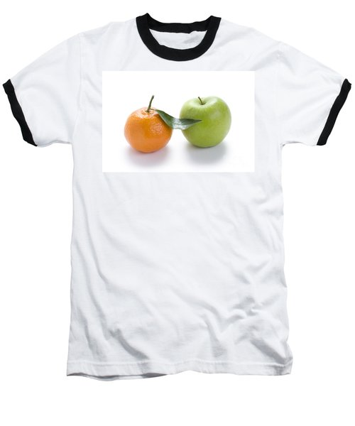 Baseball T-Shirt featuring the photograph Fresh Apple And Orange On White by Lee Avison