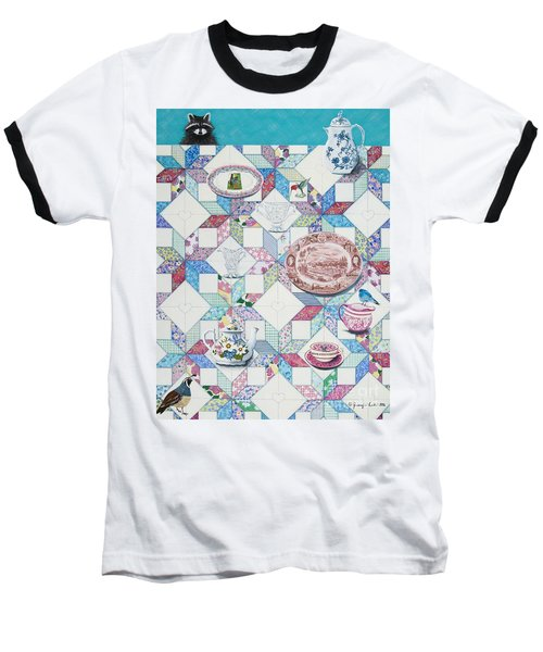 Baseball T-Shirt featuring the painting Friends Come To Tea by Jennifer Lake