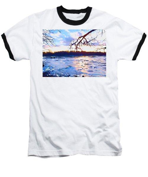 Frozen Delaware River Sunset Baseball T-Shirt