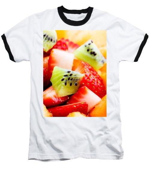 Fruit Salad Macro Baseball T-Shirt by Johan Swanepoel