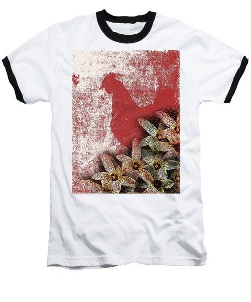 Garden Rooster Baseball T-Shirt by Lesa Fine