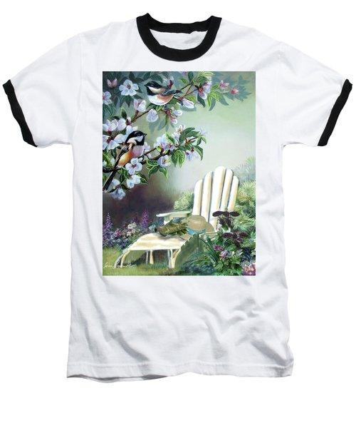 Chickadees In Blossom Tree Baseball T-Shirt by Regina Femrite