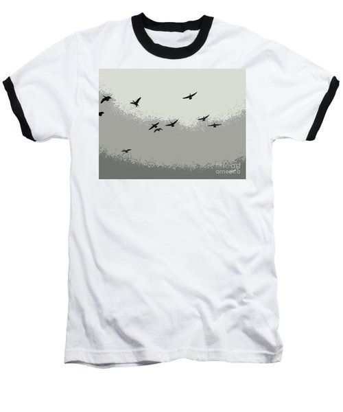 Baseball T-Shirt featuring the photograph Geese In Sillouehette by Nina Silver