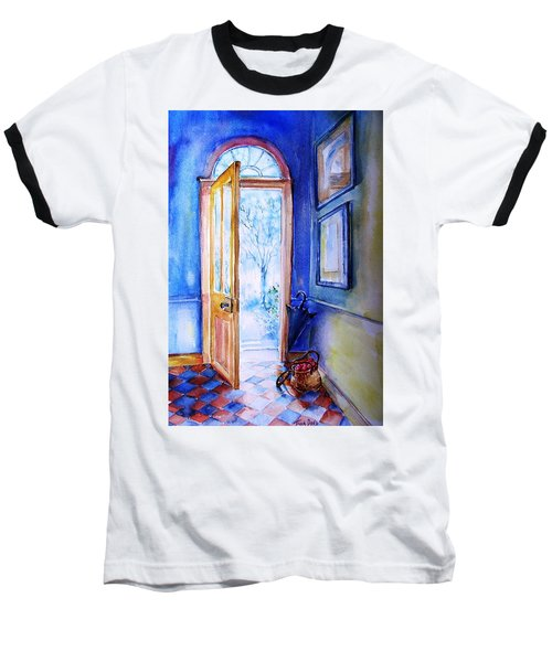 Baseball T-Shirt featuring the painting Winter Doorway Ireland    by Trudi Doyle