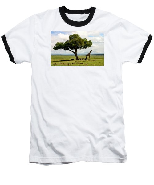Giraffe And The Lonely Tree  Baseball T-Shirt