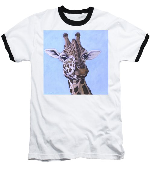 Baseball T-Shirt featuring the painting Giraffe Eye To Eye by Penny Birch-Williams
