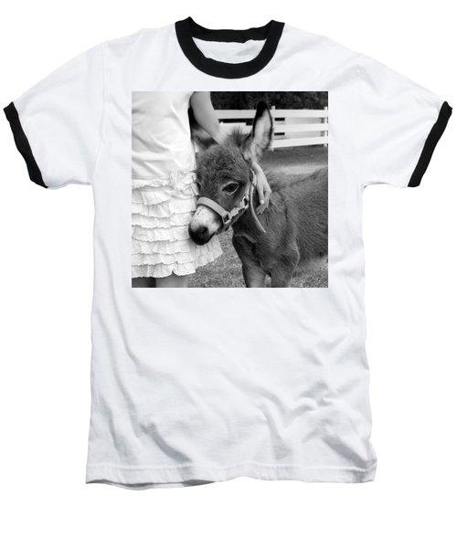 Girl And Baby Donkey Baseball T-Shirt