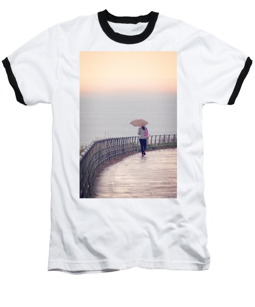 Girl Walking With Umbrella Baseball T-Shirt