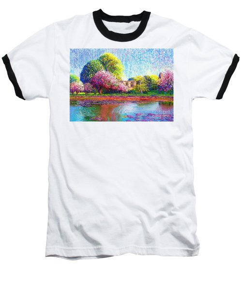 Baseball T-Shirt featuring the painting Glastonbury Abbey Lily Pool by Jane Small