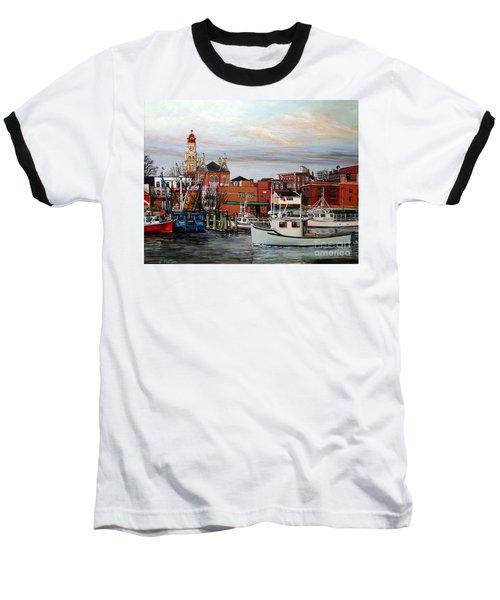Gloucester Harbor Baseball T-Shirt by Eileen Patten Oliver