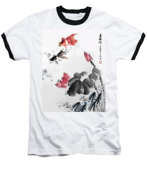 Gold Fish In Lotus Pond Baseball T-Shirt