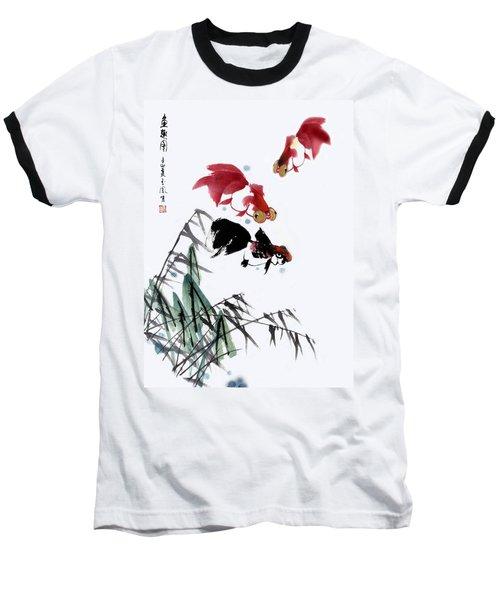 Gold Fish Baseball T-Shirt by Yufeng Wang