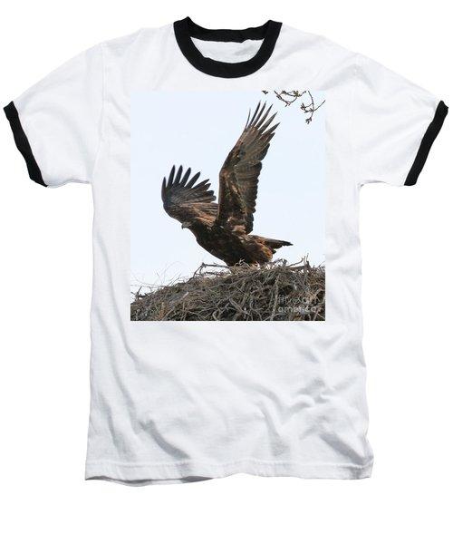 Golden Eagle Takes Off Baseball T-Shirt by Bill Gabbert