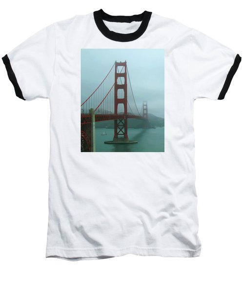 Golden Gate Bridge And Partial Arch In Color  Baseball T-Shirt by Connie Fox