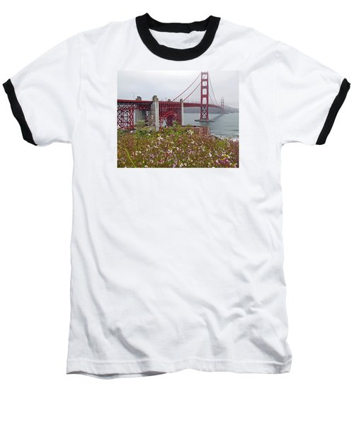 Golden Gate Bridge And Summer Flowers Baseball T-Shirt by Connie Fox