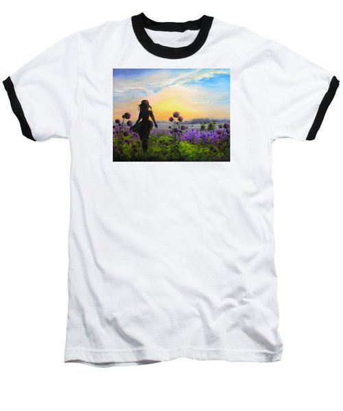 Baseball T-Shirt featuring the painting Golden Surrender by Vesna Martinjak