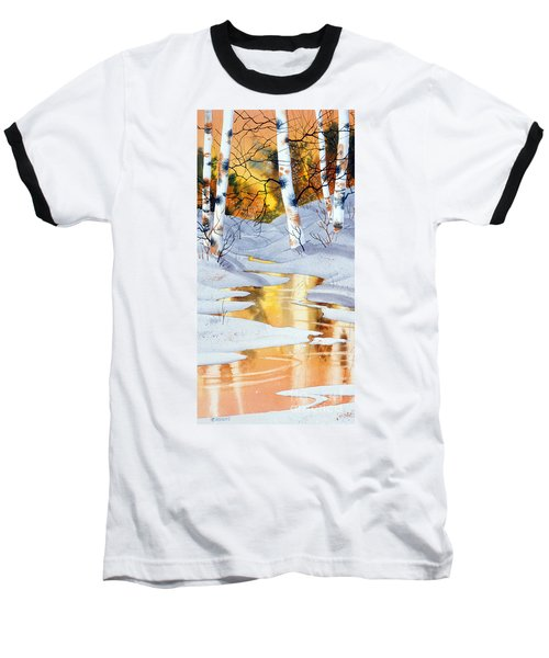 Baseball T-Shirt featuring the painting Golden Winter by Teresa Ascone