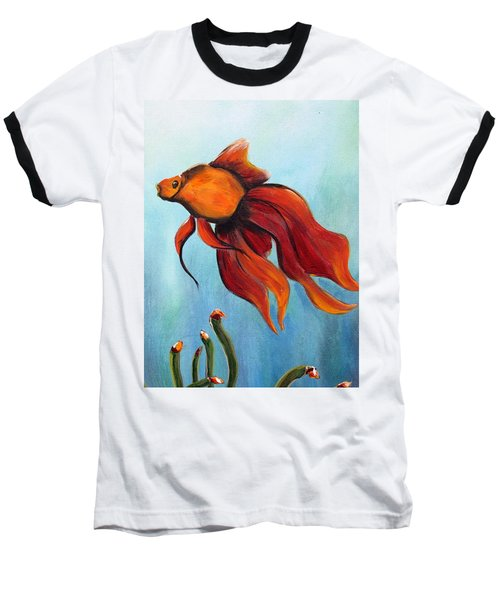 Baseball T-Shirt featuring the painting Goldfish by Jolanta Anna Karolska