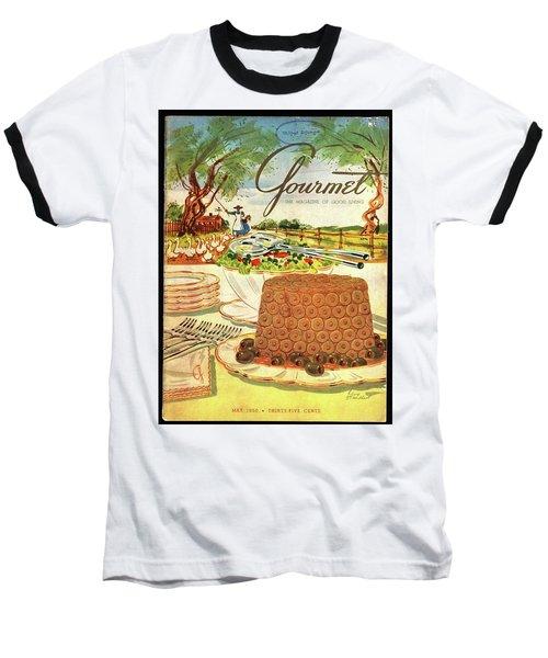 Gourmet Cover Featuring A Buffet Farm Scene Baseball T-Shirt